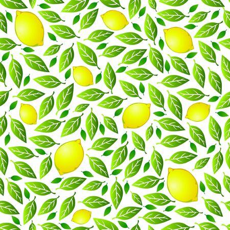 Seamless pattern: lemon and lemon tree leaves