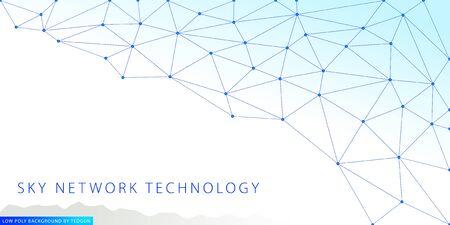 Technology line art background. Low polygonal graphic effect of blue colors. Ilustração