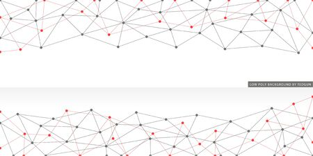 Abstract network associative composition. Simple polygonal graphic artwork with dots on vertex.