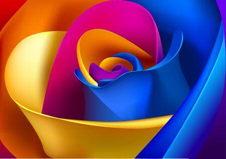 Floristic colorful background. Multicolored flower petals of macro view. Vector illustration. Ilustração