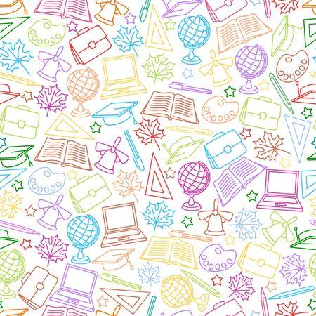 School seamless pattern. Soft color background Ilustração