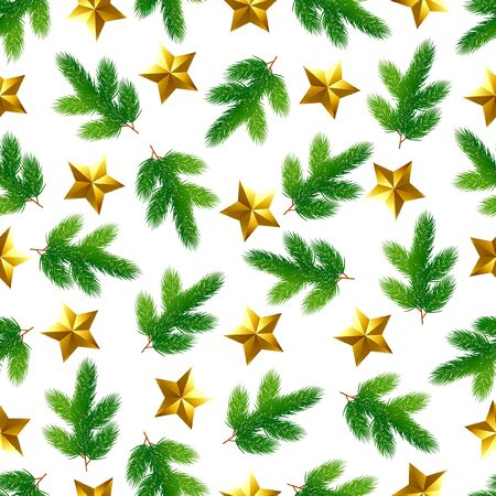 Christmas seamless background. Spruce branches and gold stars. Ilustração