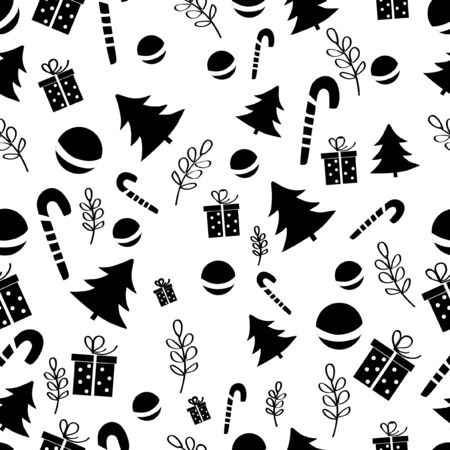 Funny design seamless pattern. Black and white 일러스트