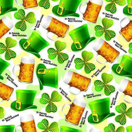 Seamless background pattern with St. Patricks Holiday symbols
