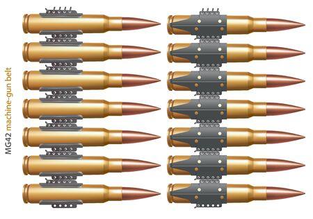 Machine gun belt part. Inner and outer side. Illustration
