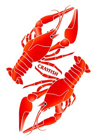 Red crayfish. Symbolic compositon for emblem design for seafosd markets, restaurant ect.