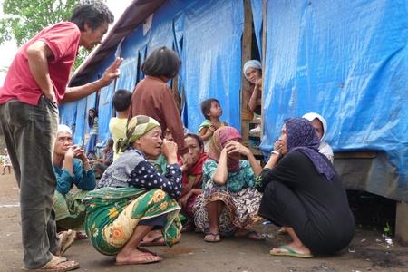 await: Maguindanao, Central Mindanao, Philippines - February 15, 2008 - IDPs await help at rural evacuation center.