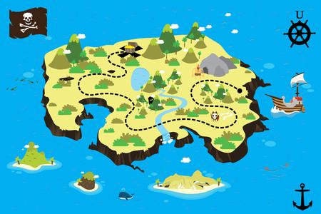 isla del tesoro: ilustraci�n isla del tesoro Vectores