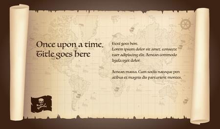 piratem ilustracji mapie