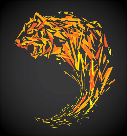 faced: polygon tiger illustration