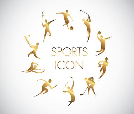 body slim: golden sports icons illustration