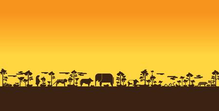 orange sunset: safari illustration Illustration