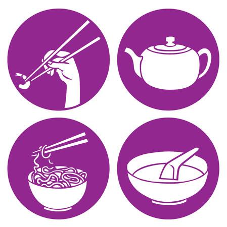 stirring: chinese food icons illustration Illustration