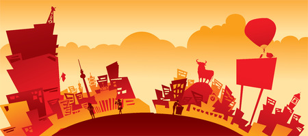 townscape: red city illustration Illustration