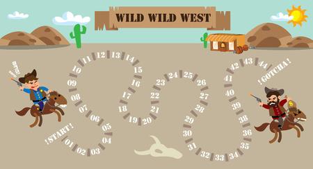 animal abuse: cowboy board game illustration