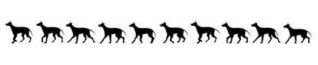 eager: dog walking illustration