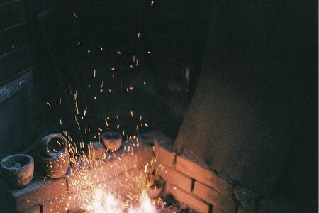 sparking: Fire Sparking with dark background.