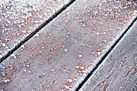 Winter Frost Wooden Planks