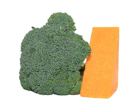 broccoli and cheddar cheese on white background photo