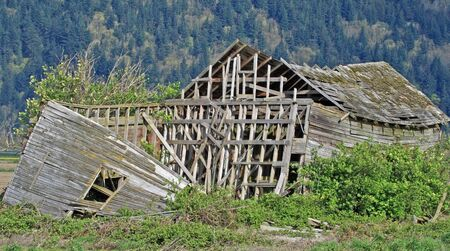 ramshackle: collapsed rural home or barn beyond repair