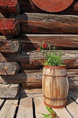 log deck: rustic image of flowers in wooden barrel on deck of log building