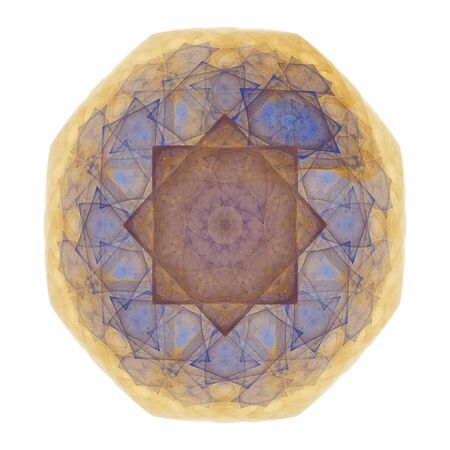 octagonal: abstract octagonal blue, burgundy and gold mosaic tile