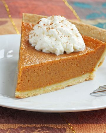 pumpkin pie with whipped cream served on white plate.shallow depth of field with focus on the tip of the pie. Stock Photo - 3564763