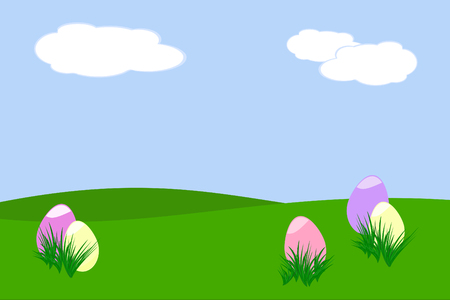 pastel colored: five pastel colored Easter eggs hidden behind tufts of grass