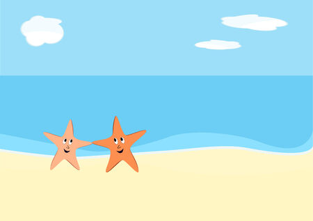 two starfish dancing on the beach