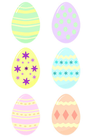 spot the difference: six Easter eggs in pastel colors each decorated differently Illustration