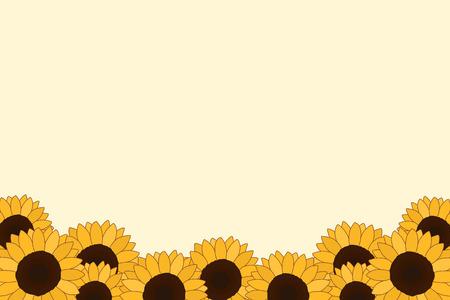 淡い黄色の背景にヒマワリの境界線