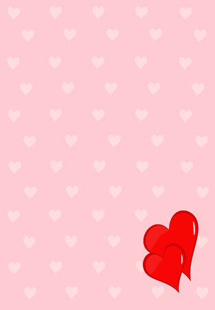 smaller: two red hearts on pink background with pattern of smaller lighter hearts
