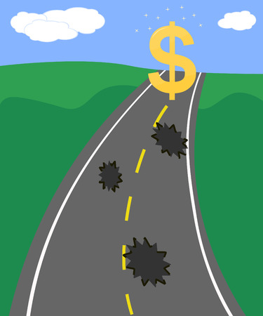 rough road: rough road full of potholes leading to dollar sign