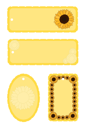 set of four yellow sunflower gift tags or bookmarks Çizim