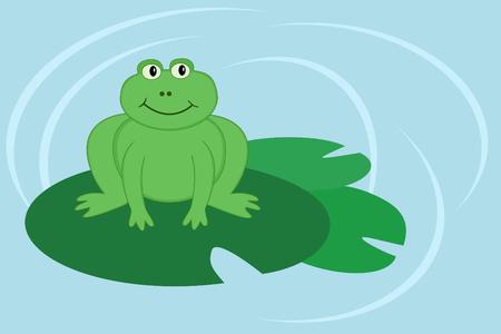 cute cartoon frog sitting on lilypad