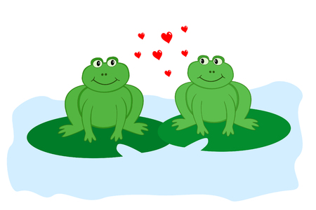 two frogs in love sitting on lily pads looking sideways at each other
