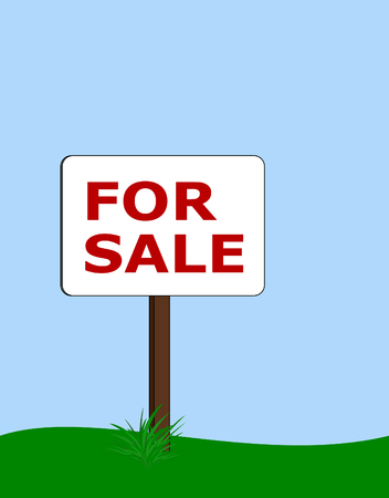 for sale rounded rectangular signpost with tuft of grass at base