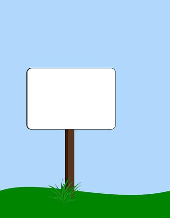 基地で草の房を持つ空白の丸い長方形の道標