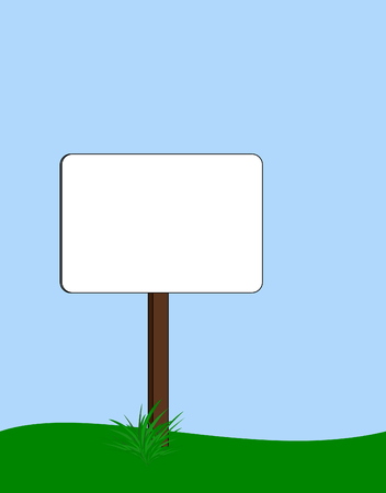 blank rounded rectangular signpost with tuft of grass at base
