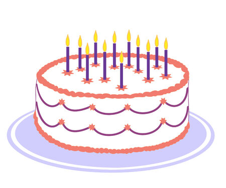 white birthday cake with pink and purple icing and burning candles on purple plate Ilustração