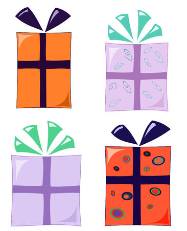 set of four funky wrapped gifts Vectores