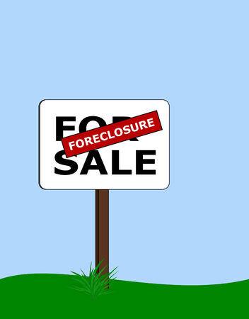 for sale sign: for sale sign with red foreclosure label