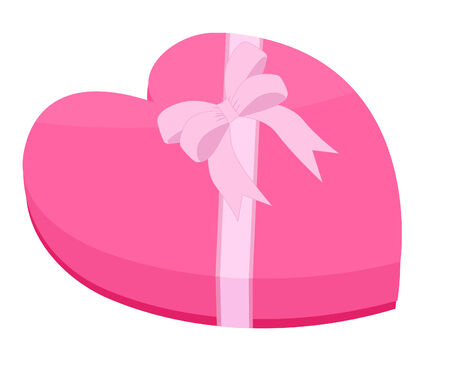 festive occasions: pink heart-shaped gift box with ribbon and bow