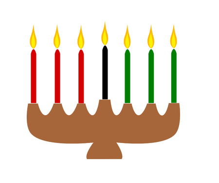 Candle holder with seven lit  candles in traditional Kwanzaa colors of red, black and green