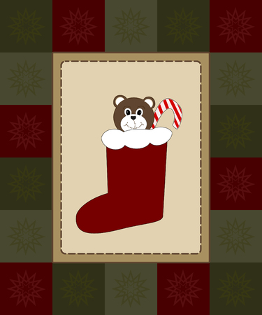 festive occasions: stocking with teddy bear and candy cane framed by checkered snowflake border