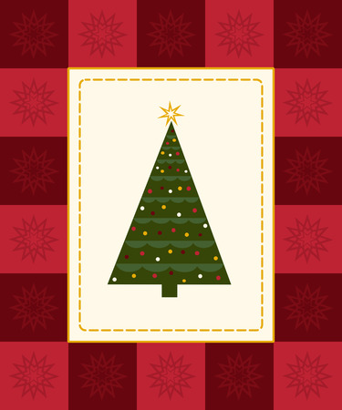 Christmas tree framed by red checkered snowflake border