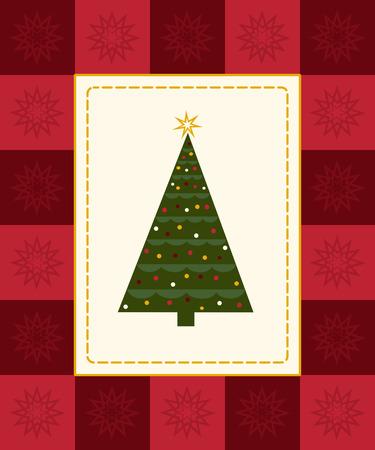 season: Christmas tree framed by red checkered snowflake border