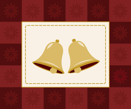 two golden bells framed by red checkered snowflake border