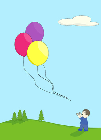 dismay: boy playing outdoors looking up in dismay at his balloons floating away