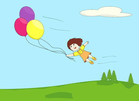 vector illustration of a girl flying away in the sky carried by three balloons
